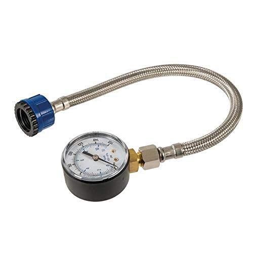 Silverline 482913 Wasserdruckmesser mit Edelstahlschlauch 0–11 bar gold