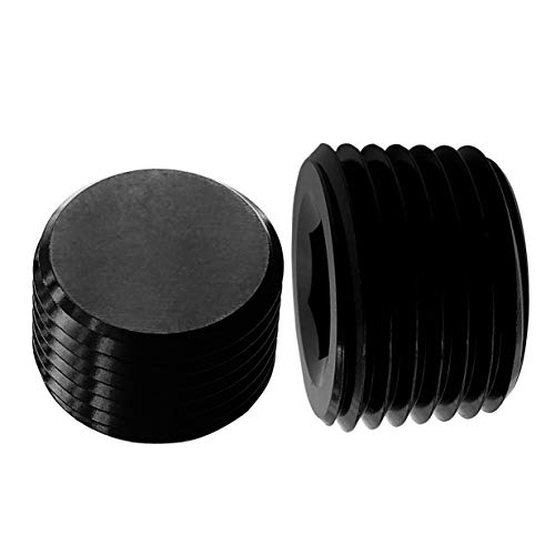 Aluminum 1/8 NPT Male Thread Allen Head Socket Pipe Plug Hex Black Anodized Pack of 2