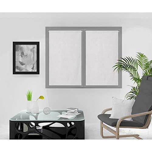 Soleil d'ocre Rideaux Brise-bise, Blanc, 60 x 120 cm