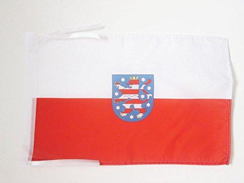 AZ FLAG Flagge THÜRINGEN 45x30cm mit Kordel - THÜRINGEN Fahne 30 x 45 cm - flaggen Top Qualität