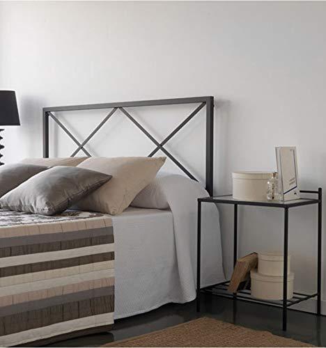 Cabecero de forja Rombo - Negro 27, Cabecero para colchón de 150 cm