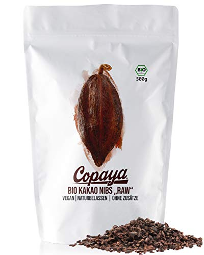 Copaya Bio Kakao Nibs Roh ohne Zusätze, Kakaonibs aus Peruanischen Kakaobohnen, Kontrollierte Premium Bohnen ohne Zucker, Ungeröstet & Ungesüßt, 500g