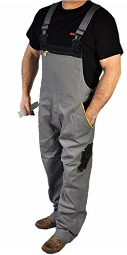Iwea Stabile Arbeits-Latzhose Heimwerker Arbeitshose Arbeitskleidung Berufsbekleidung Grau IW064, 52/54 (L)