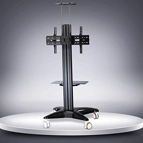 SUIYI Aluminio Soportes de Televisión para Pantallas de 32-65 Pulgadas,Negro Soporte TV Mesa en Ruedas Admite hasta 50KG Ajustable en Altura, MAX VESA 600x400mm
