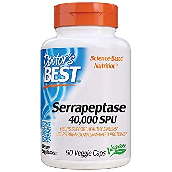 Doctor s Best Serrapeptase Non-GMO Vegan Gluten Free Supports Healthy Sinuses 40,000 SPU 90 Count  Pack of 1