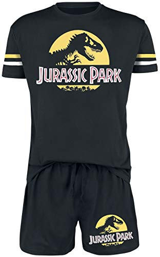 Jurassic Park Logo Hombre Pijama Negro S, 100% algodón,
