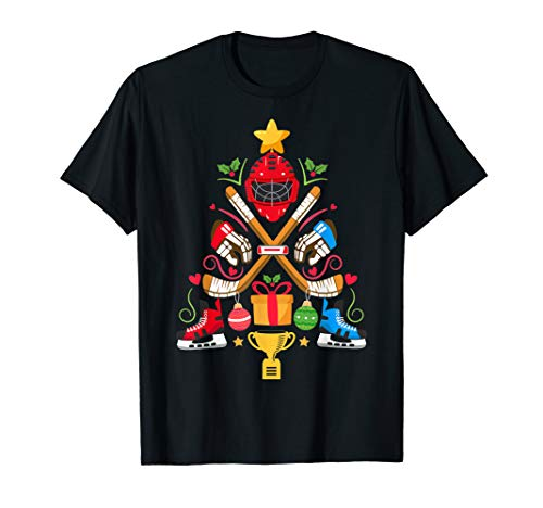 Funny Christmas Tree Ice Hockey Christmas Ornament Tree Xmas T-Shirt