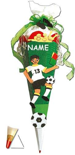 alles-meine.de GmbH BASTELSET Schultüte - Fußball 85 cm - incl. Namen - mit Holzspitze - Zuckertüte Roth - ALLE Größen - 6 eckig Fußballer Fussball Sport Jungen