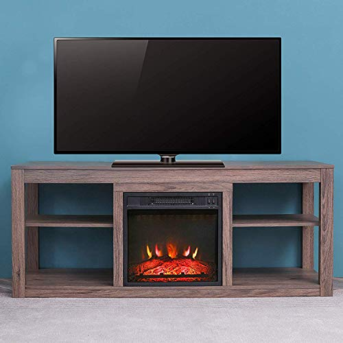 """LOKATSE HOME Electric Fireplace Stand Console for TV's Up to 70"""" Living Room Storage Entertainment Center, Grey Oak Décor Dining electric Features Fireplaces Home Kitchen"""