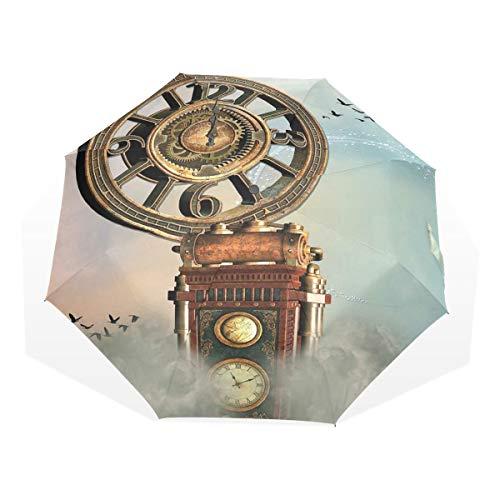 LASINSU Regenschirm,Magische verzauberte Landschaftsgroße antike Uhr Fliegen Vogel Märchen,Faltbar Kompakt Sonnenschirm UV Schutz Winddicht Regenschirm