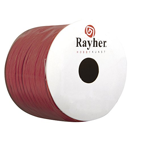 Rayher 5116018 Papierkordel mit Draht, 2 mm, Rolle 25 m, rot