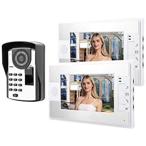 LXYPLM Videoportero Video Doorbell Video Doorbell Kit 7in LCD Video por Cable Teléfono De La Puerta Intercomunicador Timbre con Huellas Dactilares Contraseña Desbloqueo Remoto 1V2 110-240V