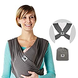 Baby K'tan Breeze Baby Wrap Carrier, Infant and Child Sling - Simple Wrap Holder for Babywearing - No Rings or Buckles - Carry Newborn up to 35 lbs, Charcoal, Small (W Dress 6-8 / M Jacket 37-38),Baby K'tan,BKBC-BREEZE-CH-S