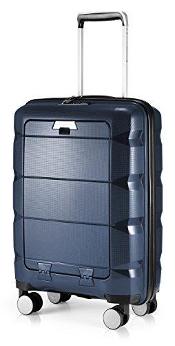 HAUPTSTADTKOFFER - Britz - Handgepäck mit Laptopfach Hartschalen-Koffer Trolley Rollkoffer Reisekoffer, TSA, 4 Rollen, 55 cm, 34 Liter, Dunkelblau