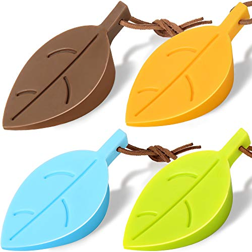 4Pcs Door Stopper Wedge Finger Protector, HNYYZL Silicone Door Stops, Cute Colorful Cartoon Leaf Style Secure Flexible Decorative Finger Protector, for Home and Office(Green, Yellow, Blue, Brown)