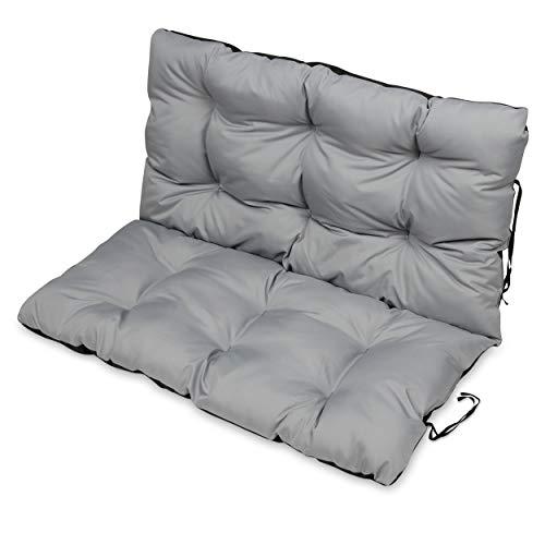 SuperKissen24 Sitzkissen Bankkissen Bankauflage für Gartenbank - 100x50 cm und Rückenlehne 100x60 cm - Outdoor und Indoor - grau