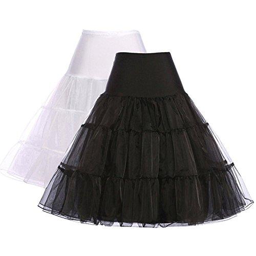 GRACE KARIN Women Petticoat Skirt 50s Dress Tutu Half Slips Medium 2 Pack