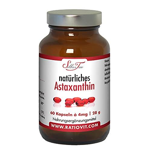 SILBERTAU Astaxanthin Softgels ● 60 Kapseln à 4mg ● reines natürliches Astaxanthin ● Mikroalge Haematococcus Pluvialis ● Starke antioxidative Wirkung ● Vitamin E