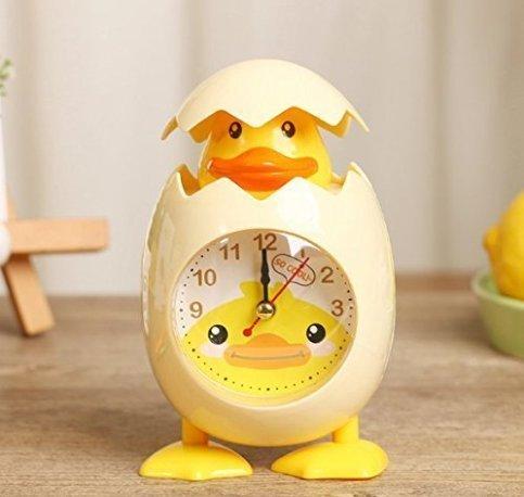 URGrace 1 x Wecker mit niedlichem Cartoon-Hühner-Eierschalen-Motiv, für Kinder, Geschenk, Heimdekoration, Gelb