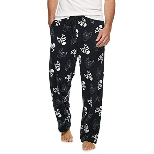 Croft & Barrow Men's Ultra-Soft Brushed Microfleece Sleep Bottoms Lounge Pajama Pants, Black Skulls, Large