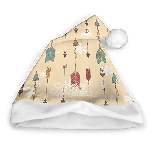 Flowon Sombrero de Papá Noel Bohemio con Flechas Dibujadas a Mano para Hombres y Mujeres, Gorro de Navidad, Gorro de Navidad, Gorro de Papá Noel de Felpa para Adultos, Adorno de Navidad