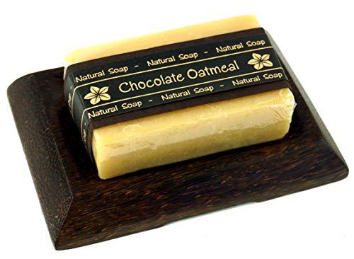 Guru-Shop Exotische Zeep Set, Zeep Kokosnoothouten Zeepbakje - Chocolade Havermout, Bruin, 1,5x12,5x8 cm, Zeep