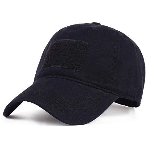 ZHXMI Gorra de béisbol de Camuflaje de algodón para Hombres, Mujeres, Gorras Snapback, Sombrero táctico, Gorra Militar de Camuflaje, Visera Ajustable de Francotirador de Verano@Negro