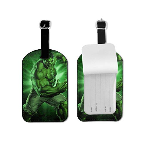 Luggage Tags Hulk Superhero Luggage Tags Suitcases Baggage Bags Adjustable Strap Leather Luggage Tag For ID Labels Set For Travel