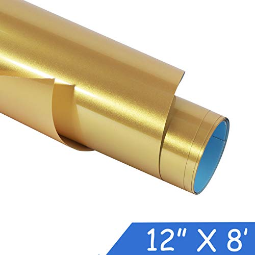 "guangyintong Heat Transfer Vinyl Roll for T-Shirt 12"" x 8ft PU Stretchy HTV Vinyl (Gold 8 feet)"