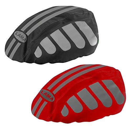 LAMA - Fundas para casco de bicicleta, 2 unidades, alta visibilidad, con tira reflectante, resistente al viento, a prueba de polvo, color rojo y negro