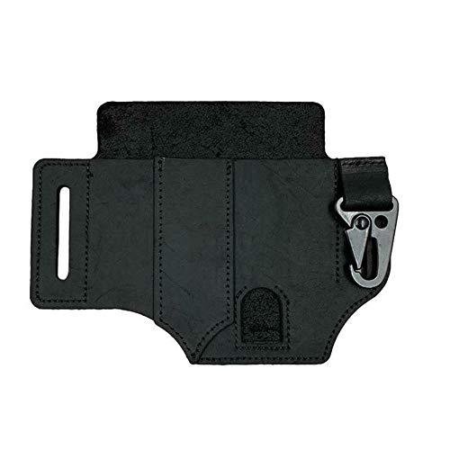 AMEOYYN EDC Pocket Organizer Leather,Taschenorganisator Langlebig Mit Schlüsselring, Handgefertigte Taschenorganisator-Tasche Für Werkzeuge Multitool-Tasche (Black)