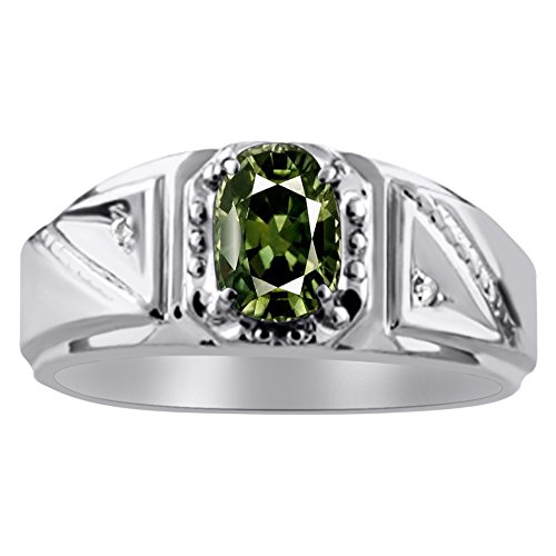 Diamond y verde zafiro anillo plata de ley o 14K oro amarillo chapado en plata