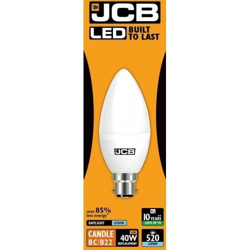 JCB [5-pack] 6 W = 40 W LED BC B22 opaal kaars gloeilamp 6500 K daglicht 470 lm (S10979)