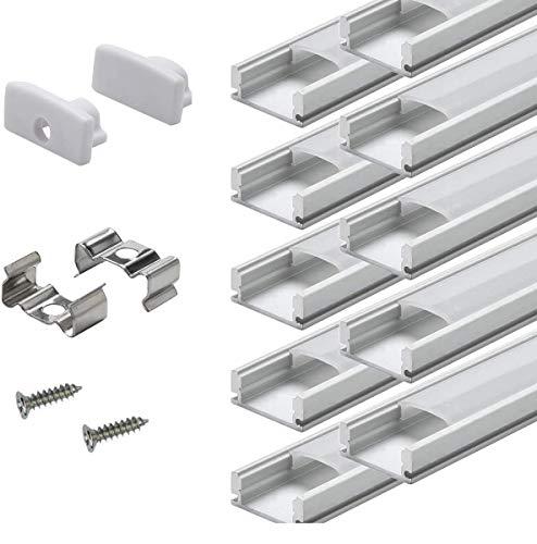 Perfil LED de aluminio de Standland, 40 x 1 m, perfil de aluminio en forma de U para tiras LED con accesorios de montaje completos...