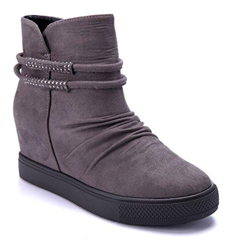 Schuhtempel24 Damen Schuhe Keilstiefeletten Stiefel Stiefeletten Boots grau Keilabsatz Ziersteine 7 cm