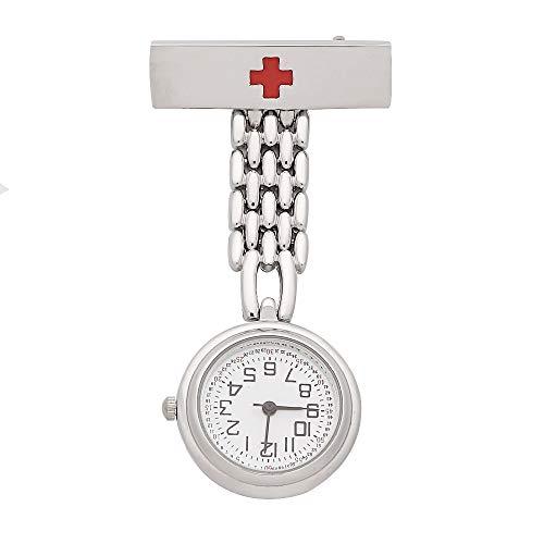 Flyproshop Nurse Watch para Mujeres, enfermería Fob Relojes Medical Pocket Paramedic Quartz Watch Hombres Octagon Dial Diseño Clip-on Acero Inoxidable para Mujer Relojes de Bolsillo con Cruz roja