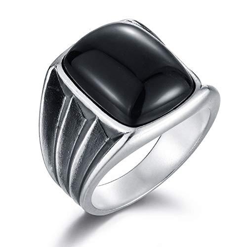 HQLCX Anillos, 925 Anillos de Plata Esterlina para Hombres, Vintage Incrustado Grande Negro Natural Onyx Stone Cómodo Ajuste Accesorios Simple,9