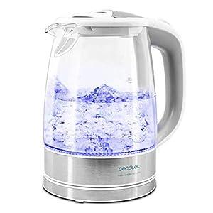 Cecotec 350 ThermoSense Clear - Hervidor de Agua Eléctrico, 1,7L, Vidrio Borosilicato, Libre de BPA, Base 360º, Luz LED, Filtro Antical, Doble Sistema de Seguridad, 2200 W