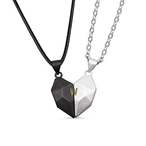 カップルペンダント ハート 刻印 二個セット バレンタイン ホワイトデー プレゼント 磁石 ネックレス レディース メンズ