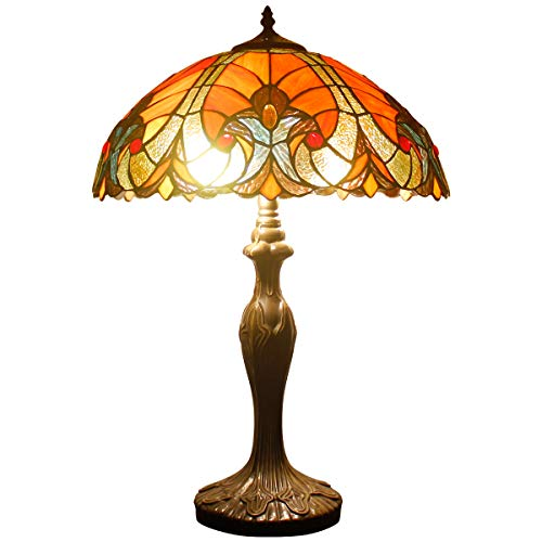 Tiffany Table Lamp Red Liaison Stained Glass Style Shade Metal Base 24