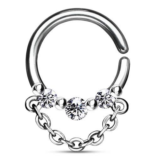 Helix piercing hoop ring 3 steentjes met ketting
