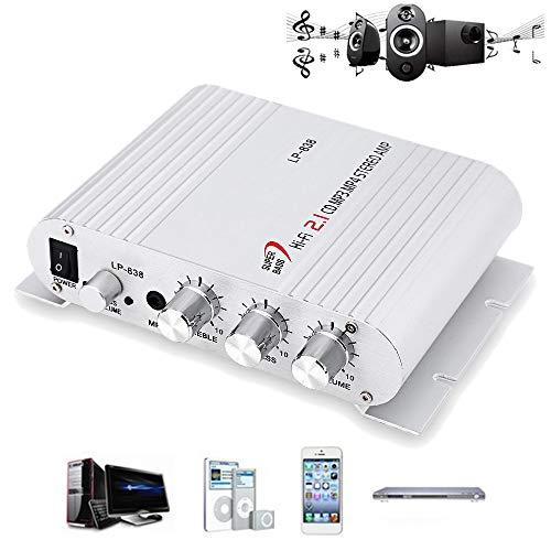 Buy PolarLander Power Car Amplifier Hi-Fi 2.1 MP3 Radio Audio Stereo Bass Speaker Booster Player for...