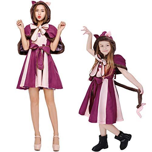 COSOER Alice Im Wunderland Schmollende Katze Cosplay Kostüm Smiley Fantasy Cat Halloween Eltern-Kind-Kleidung,Adult-M