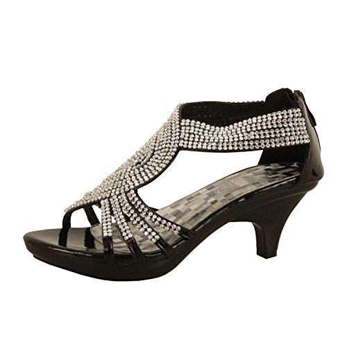Delicacy Womens Angel-37 Strappy Rhinestone Dress Sandal Low Heel Shoes,Black,10