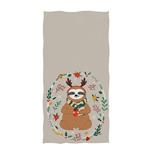 Naanle Cute Dressed Baby Sloth with Antlers Holding Coffee Cup Christmas Style Soft Bath Towel Large Hand Towels for Bathroom, Hotel, Gym and Spa (16 x 30 Inches,Beige)