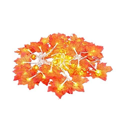 SXYRN Luces de Hoja de Arce de Calabaza, Hojas de otoño con Pilas, decoración de lámpara de Guirnalda LED para Interior, Exterior, Fiesta en casa, decoración de Halloween