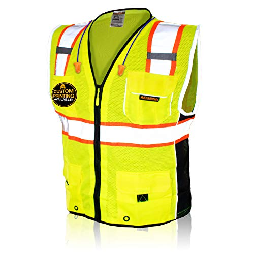 KwikSafety (Charlotte, NC) CLASSIC | 10 Pockets Class 2 ANSI High Visibility Reflective Safety Vest Heavy Duty Mesh with Zipper and HiVis for OSHA Construction Work HiViz Men Women | Yellow X-Large
