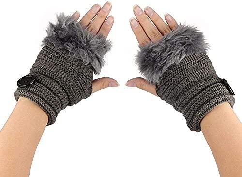 GHCXY Unisex-Adult Mittens Hearts Gloves Autumn Warm Simple Womens Winter Glamorous Faux Wrist Fingerless Gloves,Deep Gray,14.59.5cm