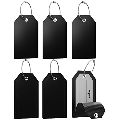 Mini Luggage Tag with Full Privacy Cover and Stainless Steel Loop (6pk, Black)