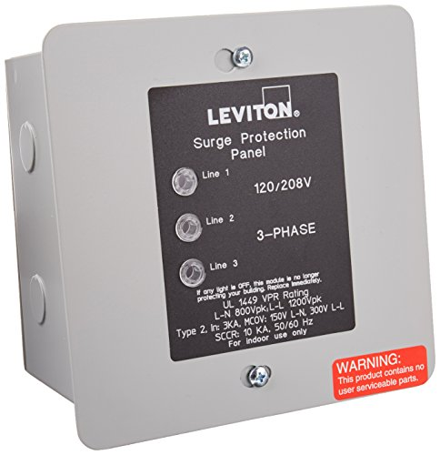 Leviton 51120-3 120/208 Volt 3 Phase WYE Panel Protector, 4-Mode Protection, Light Commercial/Residential Grade, In NEMA 1 Enclosure